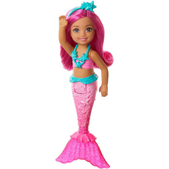 A pink bodice and shimmery tail with a translucent fin ready Chelsea mermaid doll for storytelling fun.