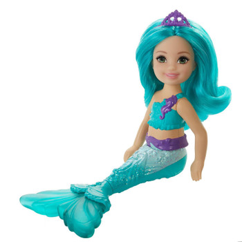 This adorable 6.5-inch (16 cm) Chelsea doll teal with a bright, fairytale-inspired look and vibrant teal hair.