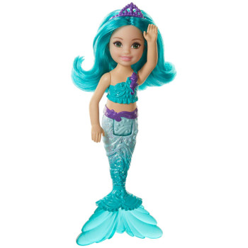 A teal bodice and shimmery tail with a translucent fin ready Chelsea mermaid doll for storytelling fun.
