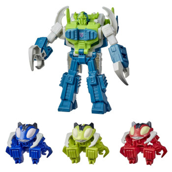 Four characters from the Cyberverse cartoon are featured in the Repugnus Revenge Pack, including Pesticon Repugnus, and 3 Tiny Turbo Changer Pesticon figures.