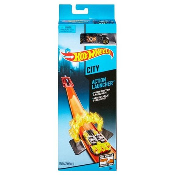 Hot Wheels ACTION LAUNCHER Track Set with BONE SHAKER 1:64 Scale Die-Cast Car in packaging.