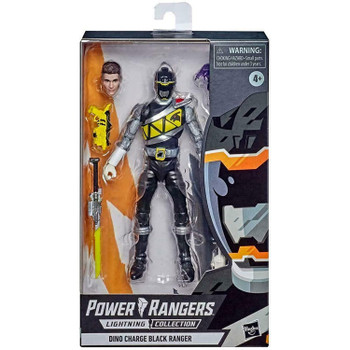 Power Rangers Lightning Collection 6-Inch DINO CHARGE BLACK RANGER Action Figure in packaging.