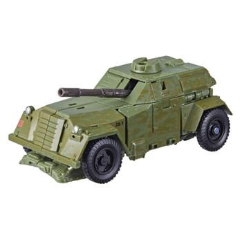 This WWII Bumblebee toy features classic conversion between robot and tank modes in 25 steps. Perfect for fans looking for a more advanced converting figure.