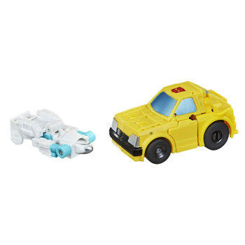 Bumblebee figure converts into hatchback car mode in 11 steps. Comes with a blaster accessory.