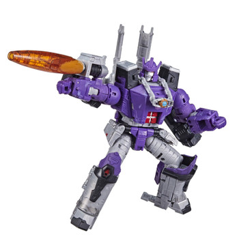 Behold, Galvatron! This G1-inspired toy converts into Galactic cannon mode in 33 steps and comes with Particle Beam cannon and 2 side cannon accessories that attach in both modes.