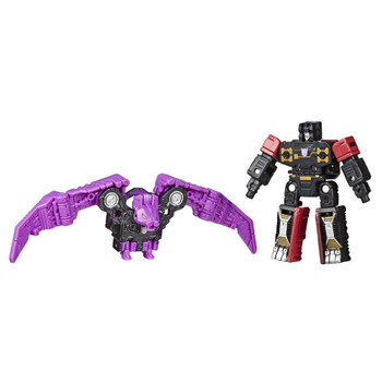 EXCITING 2-PACK - Includes Decepticon Rumble and Ratbat toys that convert into armor.