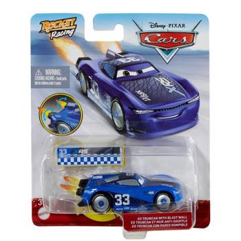 Disney Pixar Cars: XRS Rocket Racing ED TRUNCAN 1:55 Scale Die-Cast Vehicle with Blast Wall in packaging.