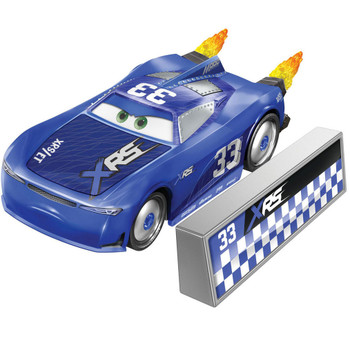 This XRS Rocket Racing ED TRUNCAN 1:55 scale die-cast car has a cool custom XRS deco and yellow flames that spin as you roll the car along!