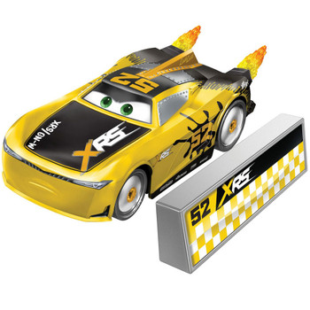 This XRS Rocket Racing GEORGE NEW-WIN 1:55 scale die-cast car has a cool custom XRS deco and yellow flames that spin as you roll the car along!
