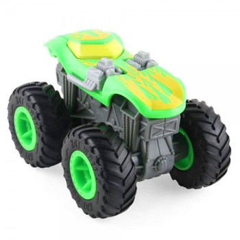Twin Mill Monster Truck features hot rod styling with a bright green and yellow deco.  Plastic construction Twin Mill measures around 12 cm (4.5 inches) long