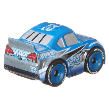 Cars Mini Racers vehicle features a metal body, rolling wheels and iconic details.