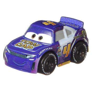 Cars Mini Racers Jack DePost with his signature Tow Cap deco in purple, yellow and white.