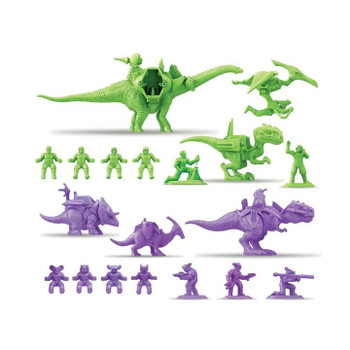 The Dino-Riders Rulon Warriors Battle Pack reignites the battle between the Dino-Riders and their evil nemeses, The Rulons, with an awesome collection of miniature figurines featuring the series' classic characters.