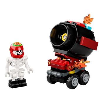 The minifigure in this El Fuego's Stunt Cannon set reveals an amazing digital world when scanned with a smart device equipped with the LEGO Hidden Side AR app.