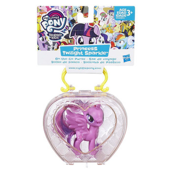 This set includes a 3-inch Princess Twilight Sparkle pony figure that fits inside the purse.