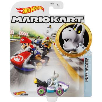 Hot Wheels Mario Kart DRY BONES (Standard Kart) 1:64 Scale Replica Die-Cast Vehicle in packaging.