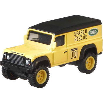 The real-life Land Rover Defender 110 Hard Top was produced from 1983–2016. This authentically detailed model features a yellow Search & Rescue deco.