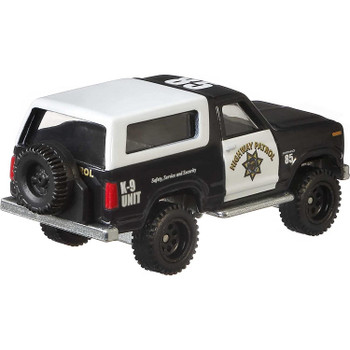 Approximately 1:64 scale, the 1985 Ford Bronco model measures around 8 cm (3 inches) in length.