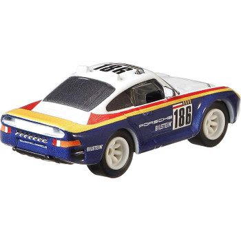 Approximately 1:64 scale this Porsche 959 model measures around 7 cm (2.75 inches) in length.
