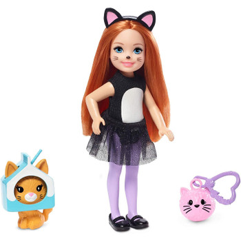 This Chelsea dress-up doll wears a cat costume with a sparkly, ruffled skirt.