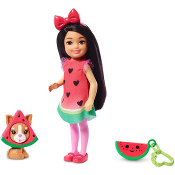 This Chelsea dress-up doll wears a watermelon costume with an adorable print and ruffle details.