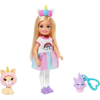 This Chelsea dress-up doll wears a unicorn costume with a rainbow graphic and bright, striped skirt.