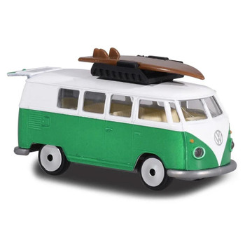 Authentically styled Volkswagen Type 2 T1 Camper Van in a green & white deco by Majorette.