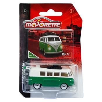 Majorette Vintage Collection VW TYPE 2 T1 CAMPER VAN (Green) 1:59 Scale Die-cast Vehicle in packaging.