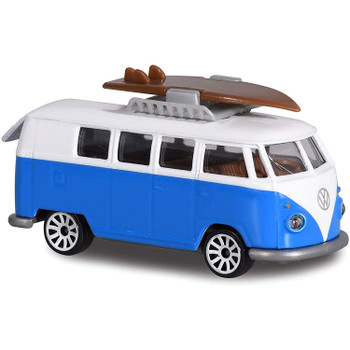 Authentically styled Volkswagen Type 2 T1 Camper Van in a blue & white deco by Majorette.