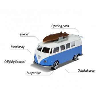 VW Type 2 T1 Camper Van features opening rear door and surfboard accessory.