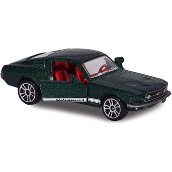 Authentically styled 1967 Ford Mustang Fastback in dark green by Majorette.