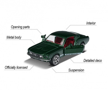 Approximately 1:62 scale, this die-cast vehicle features opening doors.