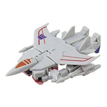 Transformers Authentics Starscream changes from robot mode to jet mode and back in just 6 easy steps.