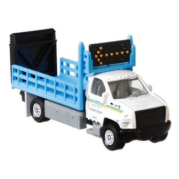 The GMC 3500 Attenuator Truck is a larger-sized service vehicle with moving parts including hinged tailgate attenuator and rotating arrow board.