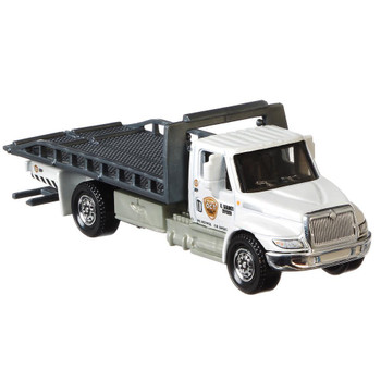 The International Durastar 4400 Flatbed truck is a larger-sized service vehicle with moving parts including a sliding truck bed and extending wheel lift.