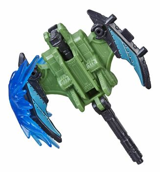 The Pteraxadon figure comes with a Fire Blasts accessory. Attach accessory to the end of the figure while in axe weapon mode to simulate the impact of an axe hitting its target.