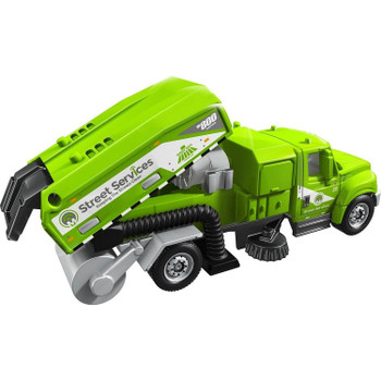 The International Workstar Street Cleaner truck is a larger-sized service vehicle with moving parts including tipping rear section with opening tail gate.