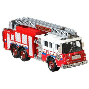 The Pierce Quantum Aerial Ladder Fire Truck is a larger-sized rescue vehicle with moving parts. Ladder can be raised, extended and rotated.