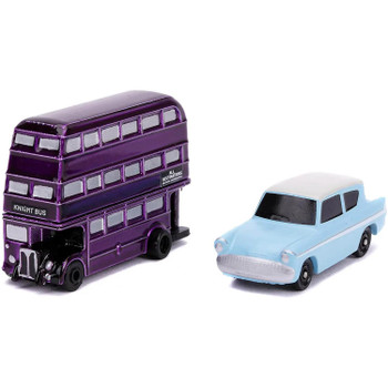 This 2-pack includes 1959 Ford Anglia and The Knight Bus.