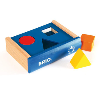 BRIO's Sorting Book is a clean and simple wooden shape sorter in the form of a hardback book.
