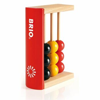 Count and re-count the colourful beads by sliding them up and down the poles.