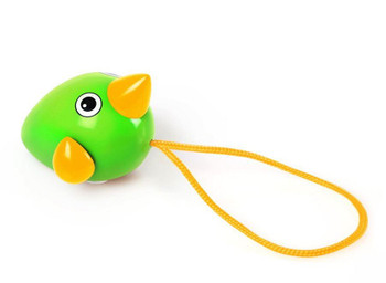 A perfect toy for the youngest mind. With the colourful green & yellow pull-along design, the Birdie is perfect for play at the table or on the ground. Pull the string and see how the Birdie's wings spin to keep up with the pace.