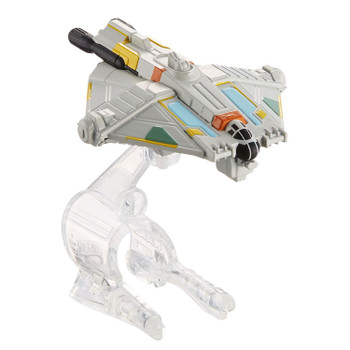 A favourite Star Wars starship re-created as a Hot Wheels miniature. The Ghost starship measures around 7.5 cm (3 inches) in length and comes with display stand.