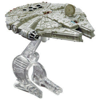 A favourite Star Wars starship re-created as a Hot Wheels miniature. The Millennium Falcon starship measures around 8.5 cm (3.25 inches) in length and comes  with Flight Navigator display stand.