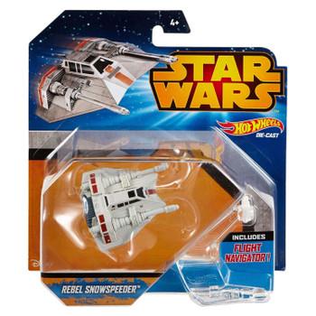 Hot Wheels Star Wars REBEL SNOWSPEEDER Die-cast Starship Vehicle in packaging.