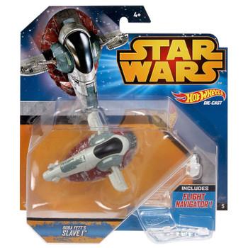 Hot Wheels Star Wars BOBA FETT'S SLAVE I Die-cast Starship Vehicle in packaging.