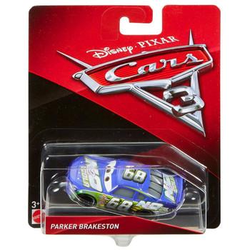 Disney Pixar Cars 3: PARKER BRAKESTON 1:55 Scale Die-Cast Vehicle in packaging.