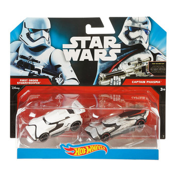 Hot Wheels Star Wars FIRST ORDER STORMTROOPER & CAPTAIN PHASMA 1:64 Scale Die-Cast Character Cars in packaging.