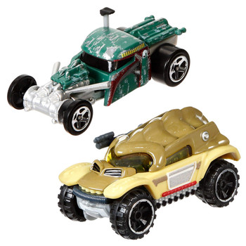 Iconic Star Wars characters Boba Fett and Bossk re-imagined as Hot Wheels cars.