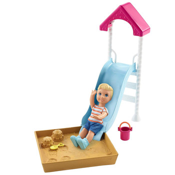 Barbie Skipper Babysitters Inc. Slide & Sandbox Playground with Toddler Doll